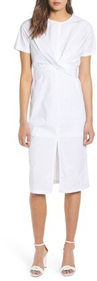 ENGLISH FACTORY Crisscross Back Tie Cotton Midi Dress