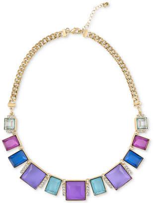 "Rachel Roy Gold-Tone Multicolor Stone Frontal Necklace, 16"" + 2"" extender"
