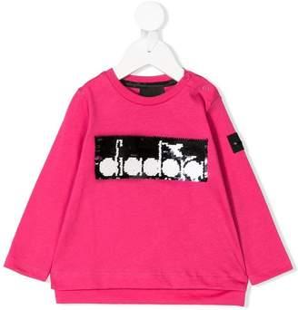 Diadora Junior sequin embroidered logo T-shirt