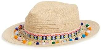 Caslon Beaded Pompom Trim Panama Hat