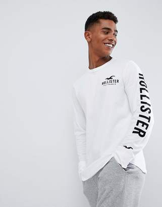 Hollister iconic sleeve logo long sleeve top slim fit in white