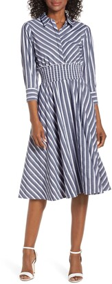 Eliza J Stripe Midi Shirtdress