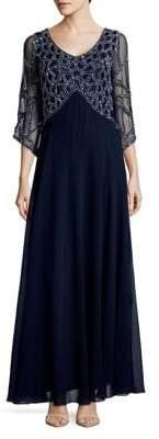 J Kara Plus Embelllished Empire Waist Gown