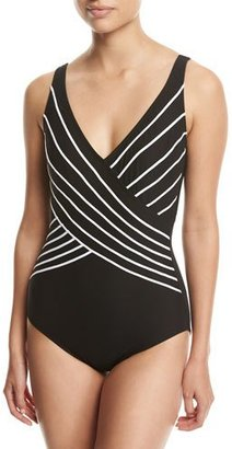 Gottex Embrace Surplice Striped One-Piece Swimsuit, Black $118 thestylecure.com