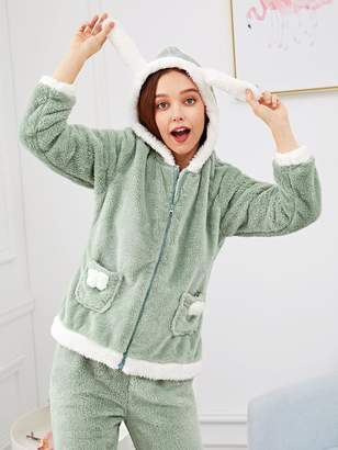 Shein Rabbit Zip Up Plush Pajama Set