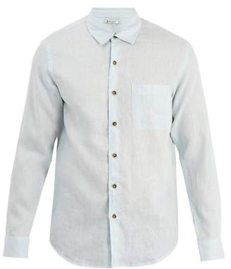 Retromarine - Point Collar Single Cuff Linen Shirt - Mens - Light Blue