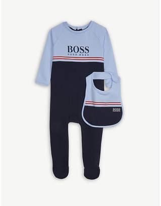BOSS Striped sleepsuit and bib set 12 months
