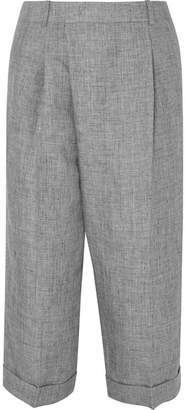 Michael Kors Cropped Linen Wide-leg Pants - Gray