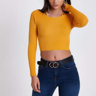 River Island Womens Orange rib knit strappy detail crop top