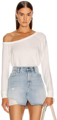 Enza Costa for FWRD Easy Off Shoulder Long Sleeve in White | FWRD
