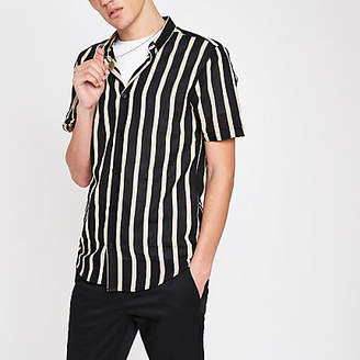 River Island Black stripe print revere shirt