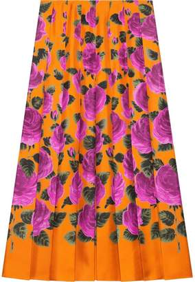 Gucci Rose Garden print silk skirt