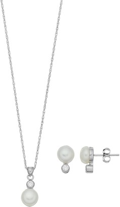 Pearlustre By Imperial PearLustre by Imperial Sterling Silver Freshwater Cultured Pearl Pendant & Earring Set