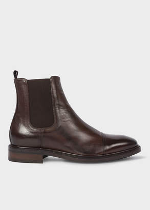 Paul Smith Men's Dark Brown Leather 'Jake' Chelsea Boots