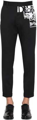 DSQUARED2 Printed Stretch Wool Cigarette Pants