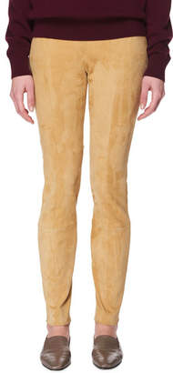 The Row Cosso Skinny-Leg Suede Pants