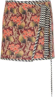 Oscar de la Renta Wrap Floral Print Mini Skirt