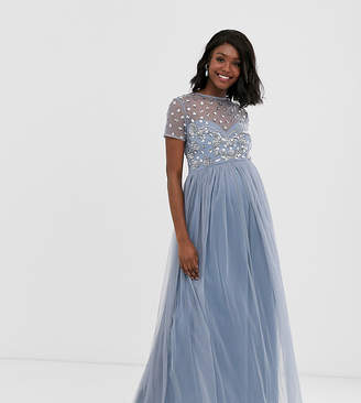 9c42ae01327ad Maya Maternity cap sleeve floral embellished maxi dress in ice blue