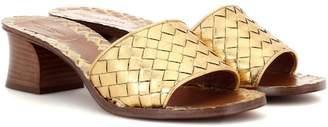 Bottega Veneta Intrecciato metallic leather sandals