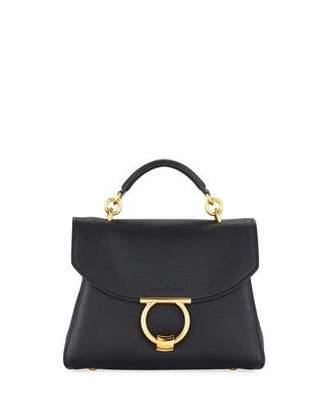 Salvatore Ferragamo Small Gancio Vela Soft Flap Top Handle Bag, Nero