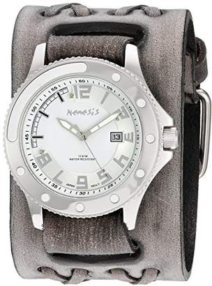 Nemesis Men's 'Sporty Series' Quartz Stainless Steel and Leather Watch