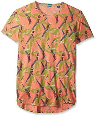 Scotch & Soda Men's Tee in Ausbrenner Quality with Uneven Bottom Hem
