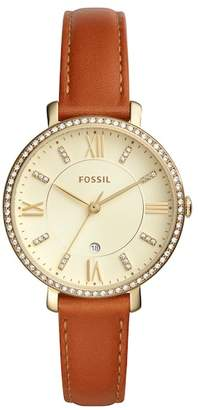 Fossil Women's Jacqueline Crystal Leather Strap Watch, 36mm