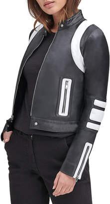 Andrew Marc Lambskin Leather Colorblock Racer Jacket