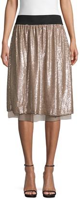 Free People Sequin Knee-Length Skirt