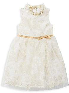 Janie and Jack Little Girl's& Girl's Golden Tulle& Lace Dress