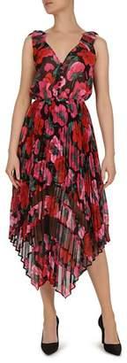 The Kooples Dolce Vita Floral-Print Pleated Midi Dress
