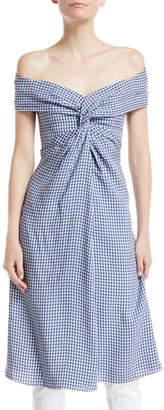 Ralph Lauren Lorna Check Off-Shoulder Tunic Top