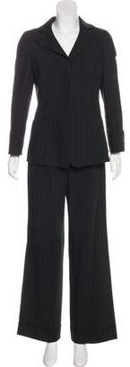 Armani Collezioni Pinstripe Wide-Leg Pantsuit
