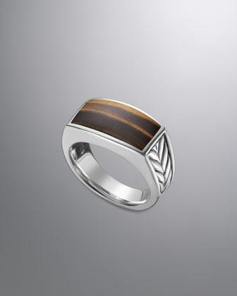 David Yurman Chevron Narrow Ring with Tiger's Eye