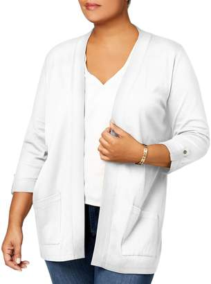 Karen Scott Plus Open-Front Cotton Cardigan