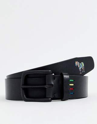 Paul Smith leather zebra belt in black