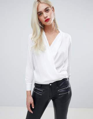 Outrageous Fortune wrap front blouse in ivory