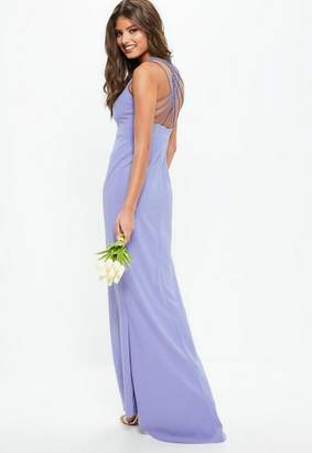 Missguided Bridesmaid Blue 90s Neck Strappy Fishtail Maxi Dress