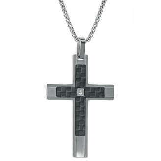 Silver Cross FINE JEWELRY Mens White Cubic Zirconia Sterling Pendant Necklace