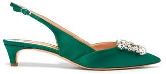 Rupert Sanderson Misty Satin And Crystal Embellished Pumps - Womens - Green