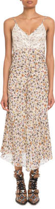 Chloé V-Neck Lace-Bodice Sleeveless Floral-Print Long Dress