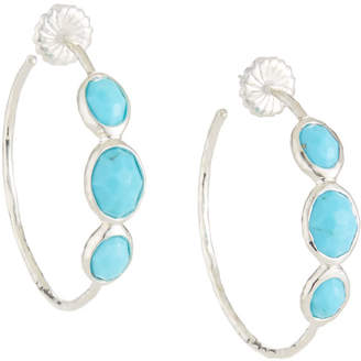 Ippolita Rock Candy Silver 3-Stone #3 Hoop Earrings in Turquoise