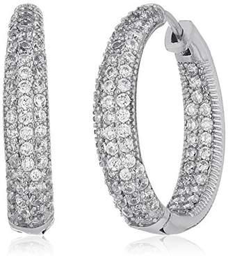 Piatella 18k White Gold Plated Simulated Diamond Hoop Earrings