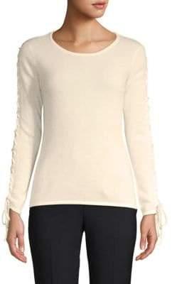 Qi Lace-Up Cashmere Top