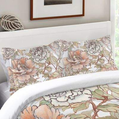 Laural Home® Blushing Pale Peonies Standard Pillow Sham in Pink/Ivory