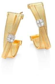 "Marco Bicego Women's Masai Diamond, 18K Yellow Gold& 18K White Gold Hoop Earrings/0.75"" - Gold"