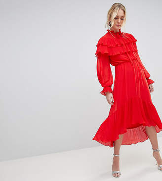 Y.A.S Tall Yas Tall Gaho Tiered Ruffle Maxi Dress With Pussybow Collar