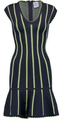 Herve Leger Fluted Striped Stretch-Knit Dress