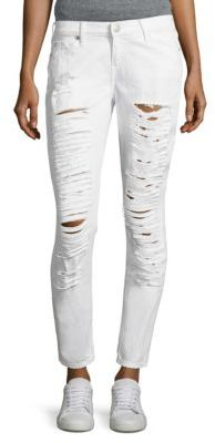 True Religion Casey Low-Rise Distressed Super Skinny Jeans $229 thestylecure.com