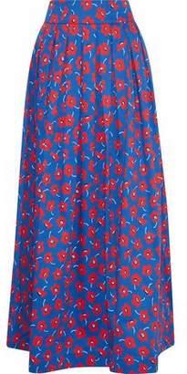 Alice + Olivia Fina Pleated Floral-Print Cotton-Blend Poplin Maxi Skirt